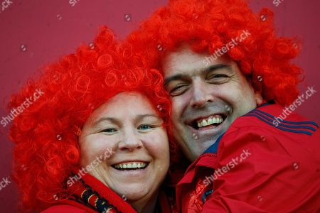 Stock Photo of Munster vs Exeter Chiefs. Munster fans Susie and Kevin Murphy before the game