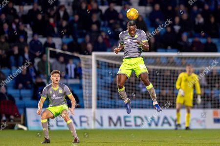Walsall  midfielder Isaiah Osbourne (30) heads the ball during the EFL Sky Bet League 1 match between Gillingham and Walsall at the MEMS Priestfield Stadium, Gillingham