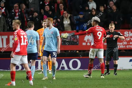 Referee John Busby puts his red card away after sending off Charlton's Lyle Taylor during Charlton Athletic vs Accrington Stanley, Sky Bet EFL League 1 Football at The Valley on 19th January 2019