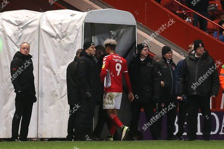Lyle Taylor of Charlton Athletic walks towards the dressing room after being shown a red card during Charlton Athletic vs Accrington Stanley, Sky Bet EFL League 1 Football at The Valley on 19th January 2019