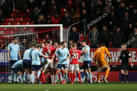 A brawl in the second half shows Charlton's Lyle Taylor on the ground and Accrington's Sam Finley with his foot raised during Charlton Athletic vs Accrington Stanley, Sky Bet EFL League 1 Football at The Valley on 19th January 2019