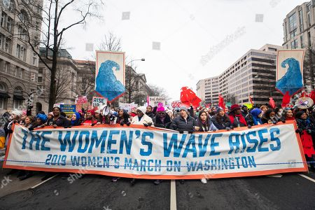 Supporters of the annual Women's March walk down Pennsylvania Avenue in Washington, DC, USA, 19 January 2019. It is the third time the organization has hit the streets of DC to protest the policies of US President Donald J. Trump. Though this year the organization has come under scrutiny for co-president Tamika Mallory's association with Nation of Islam leader Louis Farrakhan.