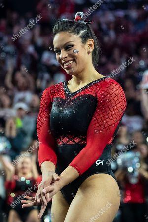 Georgia gymnast Sabrina Vega competes against Alabama during an NCAA gymnastics meet on Friday, Jan.18, 2019 in Athens, GA
