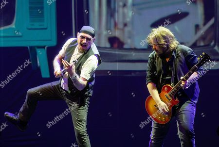 Ian Anderson (L) and Florian Opahle of British folk rock band Jethro Tull perform during their concert in Budapest Congress Center in Budapest, Hungary, 19 January 2019.