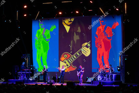Musicians John O'Hara, David Goodier, Ian Anderson, Florian Opahle and Scott Hammond of British folk rock band Jethro Tull perform during their concert in Budapest Congress Center in Budapest, Hungary, 19 January 2019.