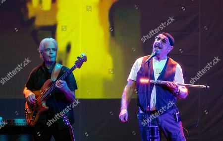 David Goodier (L) and Ian Anderson of British folk rock band Jethro Tull perform during their concert in Budapest Congress Center in Budapest, Hungary, 19 January 2019.