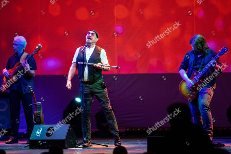 Musicians David Goodier, Ian Anderson and Florian Opahle of British folk rock band Jethro Tull perform during their concert in Budapest Congress Center in Budapest, Hungary, 19 January 2019.