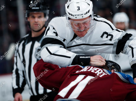 Dion Phaneuf, Matt Calvert, dion phaneuf, matt calvert. Los Angeles Kings defenseman Dion Phaneuf, back, gets the upper hand on Colorado Avalanche left wing Matt Calvert as they fight in the third period of an NHL hockey game, in Denver. Colorado won 7-1