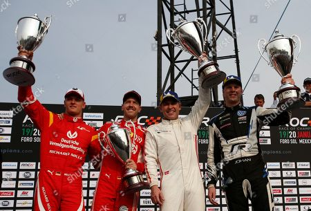 Stock Picture of Team Nordic's Johan Kristoffersson of Sweden, right, and Tom Kristensen of Denmark, second right, celebrate their victory along with runners-up, Sebastian Vettel, second left, and Mick Schumacher, left, of Team Germany, in the Race of Champions Nations Cup in Foro Sol in Mexico City, . The Race of Champions is being held for the first time in Latin America