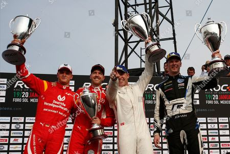 Stock Photo of Team Nordic's Johan Kristoffersson of Sweden, right, and Tom Kristensen of Denmark, second right, celebrate their victory along with runners-up, Sebastian Vettel, second left, and Mick Schumacher, left, of Team Germany, in the Race of Champions Nations Cup in Foro Sol in Mexico City, . The Race of Champions is being held for the first time in Latin America