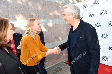 Lucy Fisher, Lynette Howell Taylor, Alfonso Cuaron. From left, Lucy Fisher, PGA Co-President, Lynette Howell Taylor and Alfonso Cuaron at the 2019 Producers Guild of America Nominees Breakfast at The Skirball Cultural Center, in Los Angeles