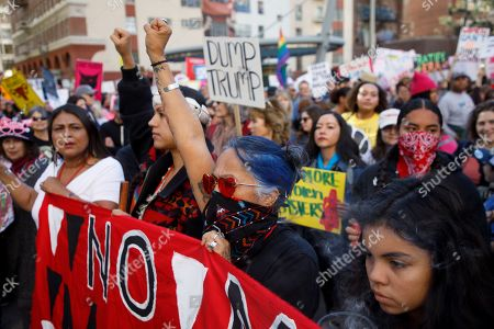 Native American activist Lydia Ponce (C) joins thousands of demonstrators at the 3rd annual Women's March in Los Angeles, California, USA, 19 January 2019. Today's march is the third time the organization has taken to the streets to protest the policies of the Trump administration. Though this year the organization has come under scrutiny for co-president Tamika Mallory's association with Nation of Islam leader Louis Farrakhan.