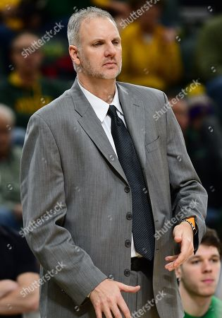 North Dakota Fighting Hawks head coach Brian Jones reacts after a call during a NCAA men's basketball game between the University of North Dakota Fighting Hawks and the North Dakota State Bison at the Scheels Center, Fargo, ND. NDSU defeated UND 67-65