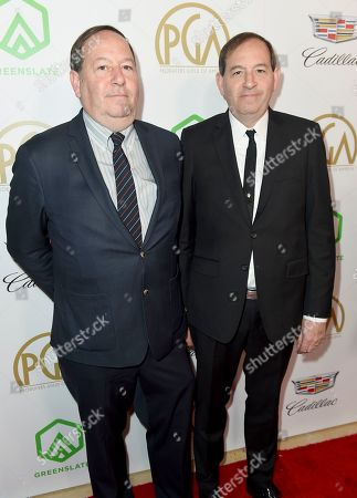 Stock Image of Josh Braun, Dan Braun. Josh Braun, left, and Dan Braun arrive at the 30th Producers Guild Awards presented by Cadillac at the Beverly Hilton, in Beverly Hills, Calif