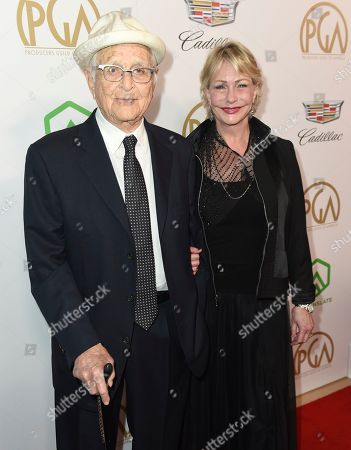 Stock Picture of Norman Lear, Lyn Davis. Norman Lear, left, and Lyn Davis arrive at the 30th Producers Guild Awards presented by Cadillac at the Beverly Hilton, in Beverly Hills, Calif