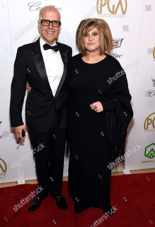 Donald de Line, Amy Pascal. Donald de Line, left, and Amy Pascal arrive at the Producers Guild Awards, at the Beverly Hilton Hotel in Beverly Hills, Calif