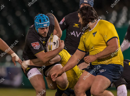 Houston SaberCats hooker Pat O'Toole (2) moves the ball down the pitch during the exhibition game between the Glendale Raptors and the Houston SaberCats at Constellation Field, Sugar Land, Texas. Full Time Glendale Raptors beat Houston SaberCats 36-21. ©Maria Lysaker - Cal Sports Media