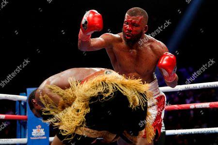 Marcus Browne ducks during his WBA interim light heavyweight boxing bout against Badou Jack, in Las Vegas