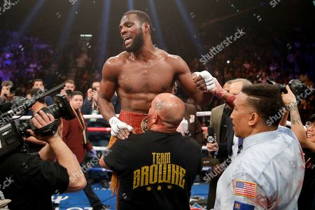 Marcus Browne celebrates his win against Badou Jack in the WBA interim light heavyweight title boxing bout, in Las Vegas