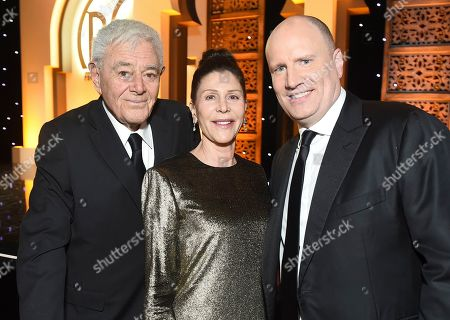 Richard Donner, Lauren Shuler Donner, Kevin Feige. Richard Donner, from left, Lauren Shuler Donner and Kevin Feige at the 30th Producers Guild Awards presented by Cadillac at the Beverly Hilton, in Beverly Hills, Calif