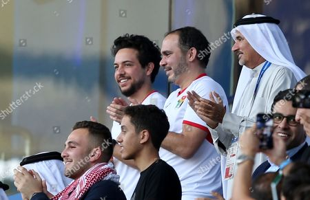 Jordanian Crown Prince Al Hussein bin Abdullah II (L -Back) and Prince Ali Bin Al Hussein (C-Back) the President of the Jordan Football Association celebrate after their national team scored during the 2019 AFC Asian Cup round of 16 soccer match between Jordan and Vietnam in Dubai, United Arab Emirates, 20 January 2019.