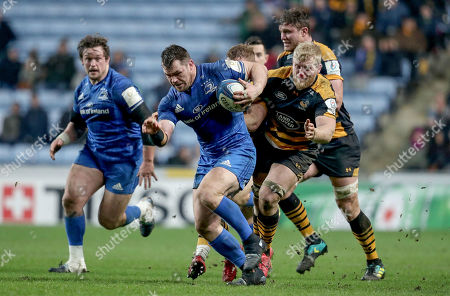 Wasps vs Leinster. Leinster's Cian Healy with Ben Morris of Wasps