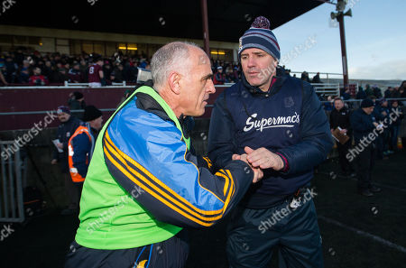 Galway vs Roscommon. Galway manager Kevin Walsh with Roscommon manager Anthony Cunningham at the final whistle