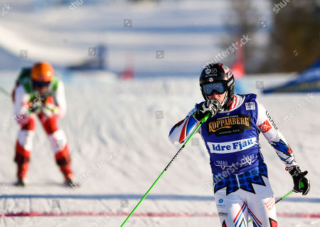 Stock Image of Jean Frederic Chapuis of France skies to win the Men's final FIS Freestyle Ski Cross World Cup event in Idre Fjall, Sweden, 20 January 2019.