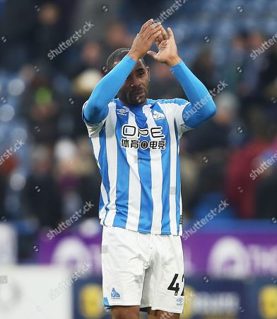 Jason Puncheon of Huddersfield Town thanks the fans at the end of the game