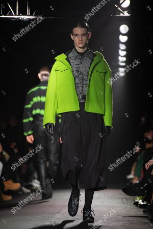 A model presents a creation from the Fall/ Winter 2019/2020 Ready to Wear collection for Christian Dada fashion house during the Paris Fashion Week, in Paris, France, 20 January 2019. The presentation of the Men's collections runs from 15 to 20 January 2019.