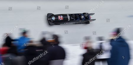 Bob pilot Brad Hall of Great Britain with his pushers Alan Toward, Nick Gleeson and Ben Simons in action at the 2nd Run at the Four-Man competition at the Bobsleigh World Cup event in Innsbruck, Austria, 20 January 2019.