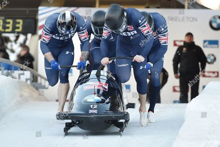 Bob pilot Brad Hall of Great Britain with his pushers Alan Toward, Nick Gleeson and Ben Simons in action during the 1st Run at the Four-Man competition at the Bobsleigh World Cup event in Innsbruck, Austria, 20 January 2019.