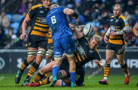 Wasps vs Leinster. Leinster?s Jack McGrath and Rhys Ruddock with Ben Morris of Wasps