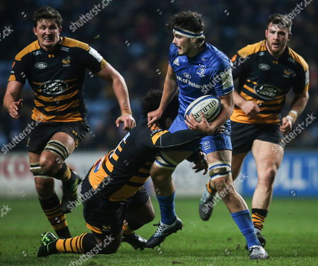 Wasps vs Leinster. Leinster?s Max Deegan with Ashley Johnson of Wasps