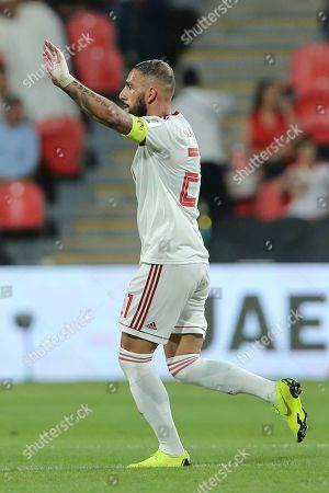 Iran's midfielder Ashkan Dejagah celebrates after scoring his side's second goal during the AFC Asian Cup round of 16 soccer match between Iran and Oman at Mohammed Bin Zayed Stadium in Abu Dhabi, United Arab Emirates