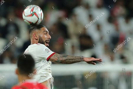 Iran's midfielder Ashkan Dejagah heads the ball during the AFC Asian Cup round of 16 soccer match between Iran and Oman at Mohammed Bin Zayed Stadium in Abu Dhabi, United Arab Emirates