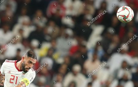 Ashkan Dejagah of Iran in action during the 2019 AFC Asian Cup round of 16 soccer match between Iran and Oman in Abu Dhabi, United Arab Emirates, 20 January 2019.