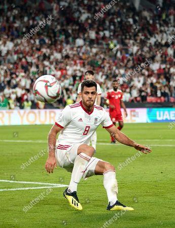 Morteza Pouraliganji of Iran during Iran v Oman at the Zayed Sports City Stadium in Abu Dhabi, United Arab Emirates, AFC Asian Cup, Asian Football championship