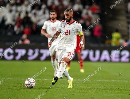 Ashkan Dejagah of Iran during Iran v Oman at the Zayed Sports City Stadium in Abu Dhabi, United Arab Emirates, AFC Asian Cup, Asian Football championship