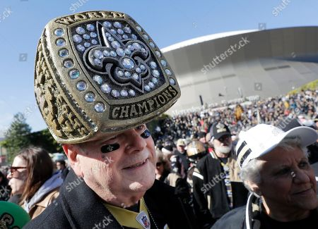 Stock Photo of New Orleans Saints fan Dave Perry arrives before the NFL football NFC championship game against the Los Angeles Rams, in New Orleans