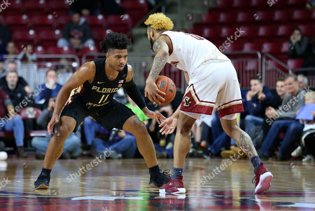 Chestnut Hill, MA, USA; Florida State Seminoles guard David Nichols (11) defends Boston College Eagles guard Ky Bowman (0) during the NCAA basketball game between Florida State Seminoles and Boston College Eagles at Conte Forum. Boston College won 87-82