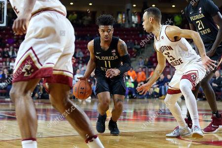 Chestnut Hill, MA, USA; Florida State Seminoles guard David Nichols (11) drives to the basket during the NCAA basketball game between Florida State Seminoles and Boston College Eagles at Conte Forum. Boston College won 87-82