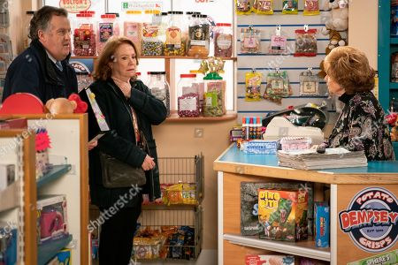 Ep 9686 Wednesday 6th February 2019 - 1s Ep An excited Brian Packham, as played by Peter Gunn, and Cathy Matthews, as played by Melanie Hill, head over to tell Rita Tanner, as played by Barbara Knox, that they are buying the Kabin but are thwarted when she furiously announces Norris has sold the shop from under her, unaware that they are the buyers.