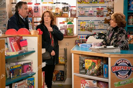 Ep 9686 Wednesday 6th February 2019 - 1st Ep An excited Brian Packham, as played by Peter Gunn, and Cathy Matthews, as played by Melanie Hill, head over to tell Rita Tanner, as played by Barbara Knox, that they are buying the Kabin but are thwarted when she furiously announces Norris has sold the shop from under her, unaware that they are the buyers.