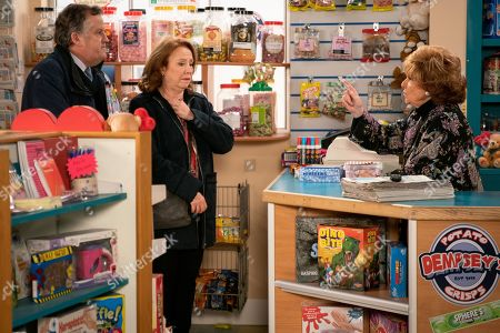 Ep 9686 Wednesday 6th February 2019 - 1s Ep RITA An excited Brian Packham, as played by Peter Gunn, and Cathy Matthews, as played by Melanie Hill, head over to tell Rita Tanner, as played by Barbara Knox, that they are buying the Kabin but are thwarted when she furiously announces Norris has sold the shop from under her, unaware that they are the buyers.