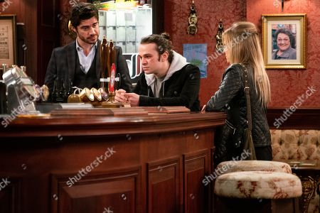 Ep 9679 Monday 28 January 2019 - 2nd Ep As David Platt and Nick Tilsley discuss plans for the barbers, Sarah Platt, as played by Tina O'Brien, offers Gary's services for the shop fit. With Adam Barlow, as played by Sam Robertson, and Seb Franklin, as played by Harry Visinoni.