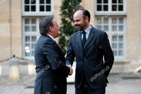 French Prime Minister Edouard Philippe (R) greets Premier of Quebec Francois Legault prior to their meeting in Paris, France, 21 January 2019.