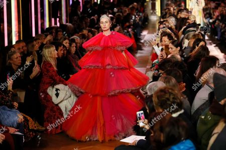 Model Erin Wasson wears a creation for Schiaparelli's Spring/Summer 2019 Haute Couture fashion collection presented in Paris, Monday Jan.21, 2019