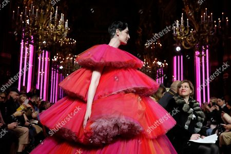 Stock Photo of British model Erin O'Connor presents a creation from the Spring/Summer 2019 Haute Couture collection by French designer Bertrand Guyon for Schiaparelli during the Paris Fashion Week, in Paris, France, 21 January 2019. The presentation of the Haute Couture collections runs from 21 to 24 January.