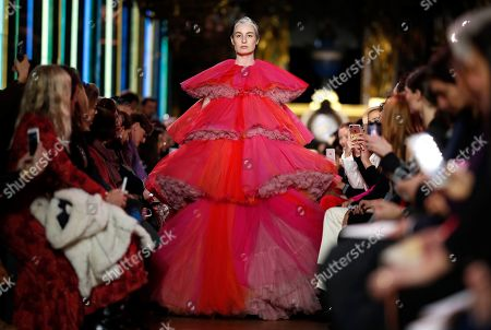 Stock Image of British model Erin O'Connor presents a creation from the Spring/Summer 2019 Haute Couture collection by French designer Bertrand Guyon for Schiaparelli during the Paris Fashion Week, in Paris, France, 21 January 2019. The presentation of the Haute Couture collections runs from 21 to 24 January.